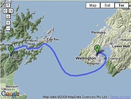 Interislander Ferry Route Map
